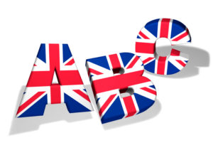 English language school and education concept with the letters Abc and the colors of The United Kingdom flag on white background.