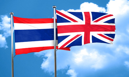 58080128 - thailand flag with great britain flag, 3d rendering