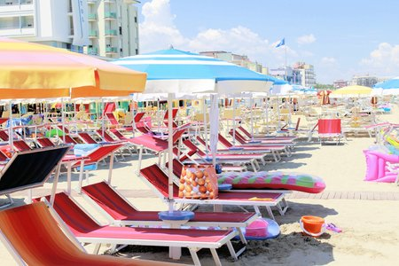 30372907 - beach with umbrellas in italy